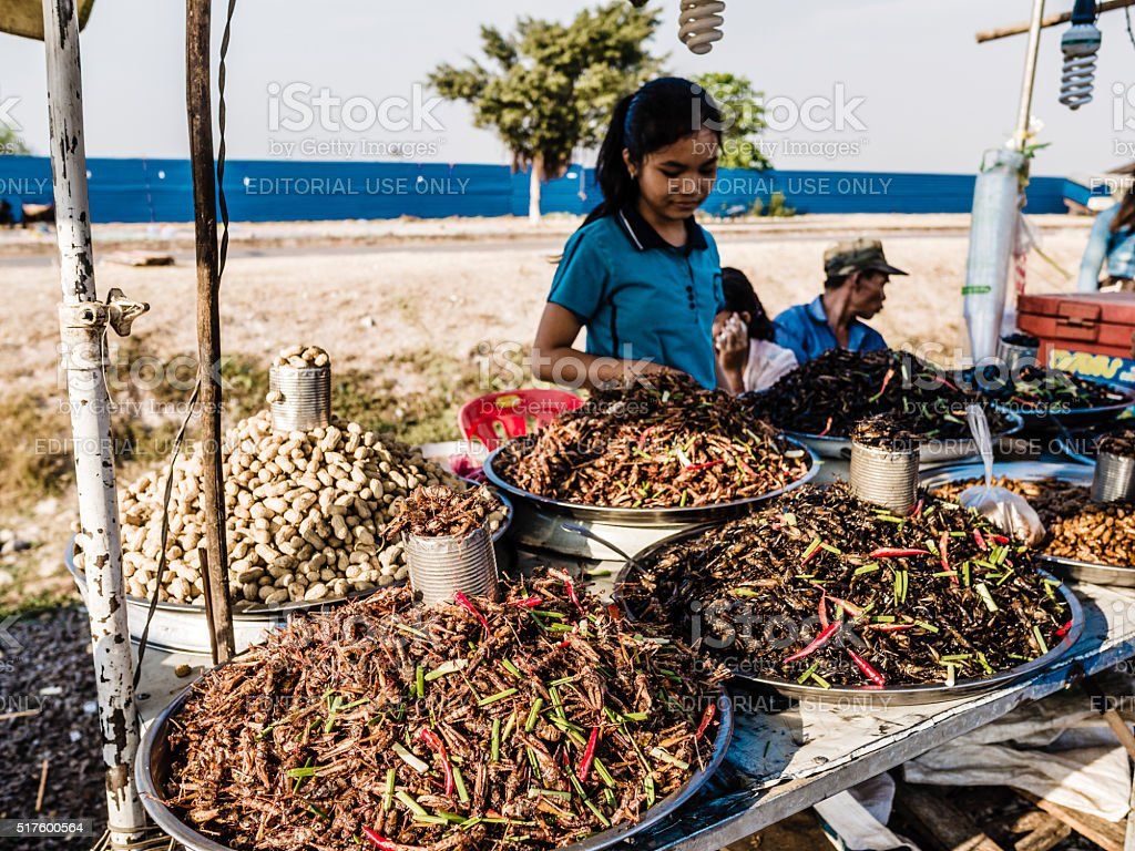 Girl selling fried insects in street market stock photo