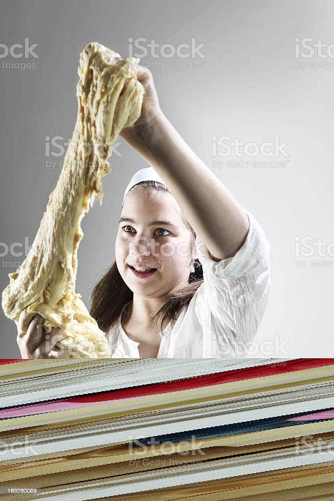 girl sewing royalty-free stock photo