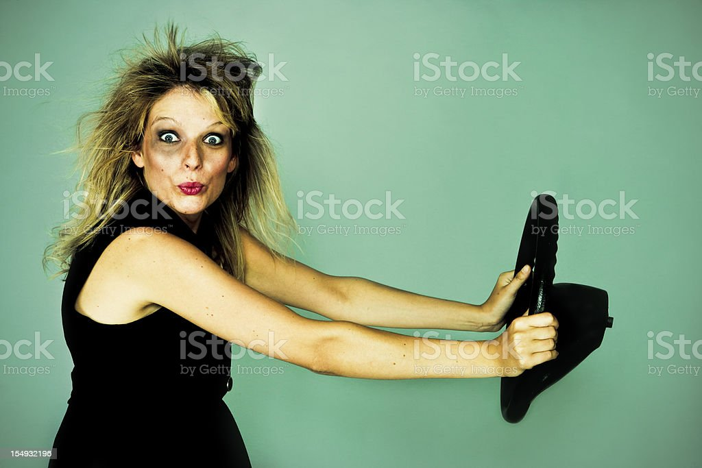 Girl shocked after a car crash stock photo