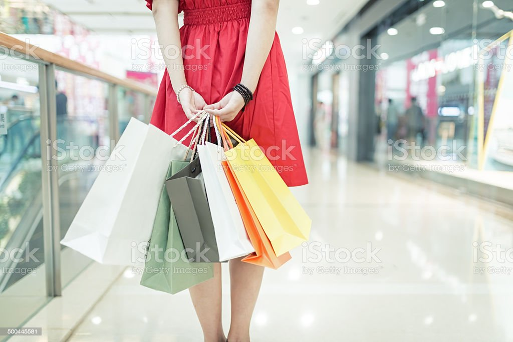 girl shopping at luxury mall in kowloon shanghai china stock photo