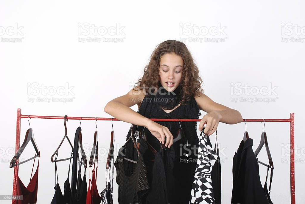 Girl shopping for clothes royalty-free stock photo