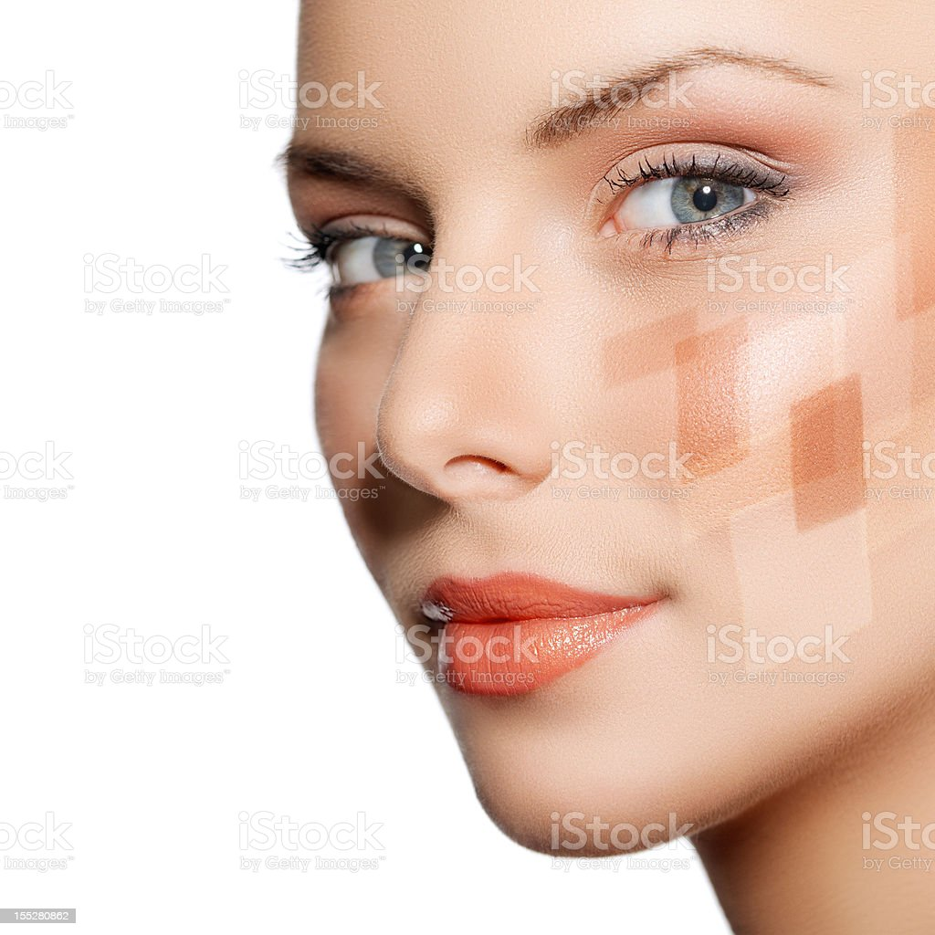 Girl showing differences of face powder royalty-free stock photo