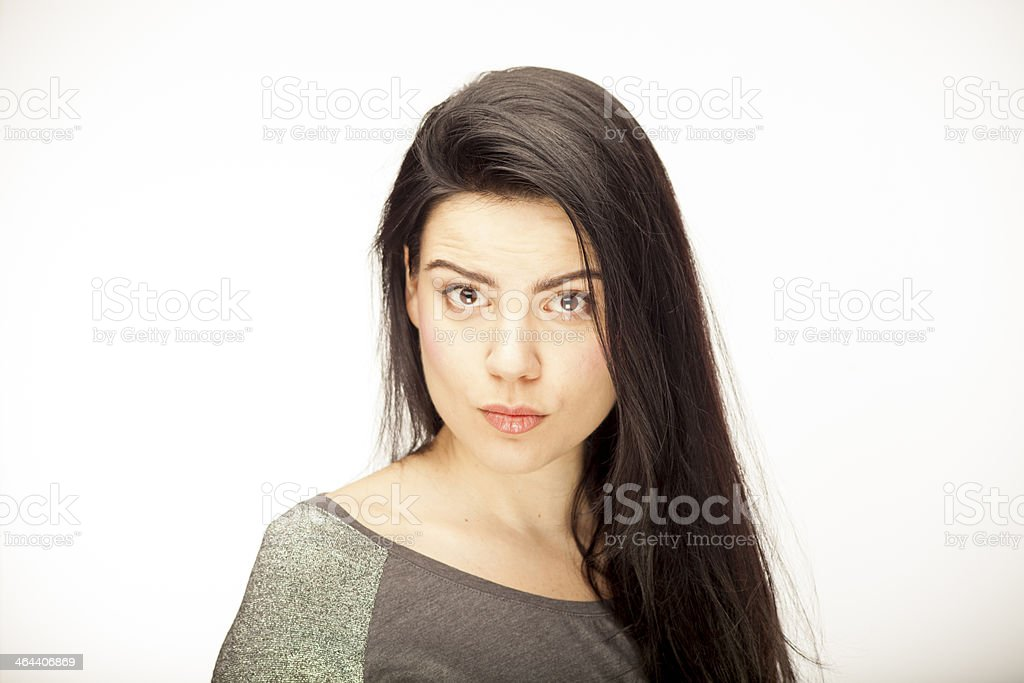 girl showing emotion with facial expressions stock photo