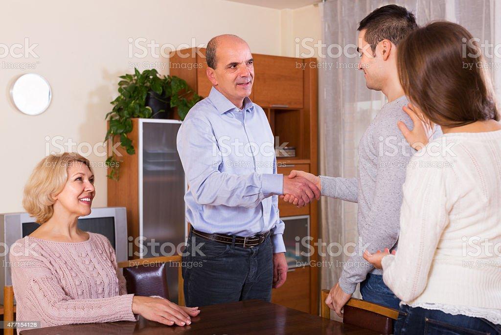 Girl showing his future husband stock photo