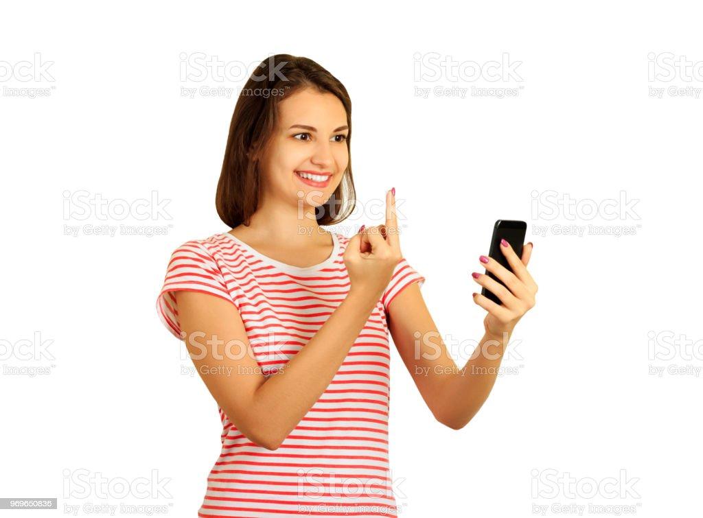 Girl Zeigt Mittelfinger In Telefon Und Sagen Fick Dich Emotionale