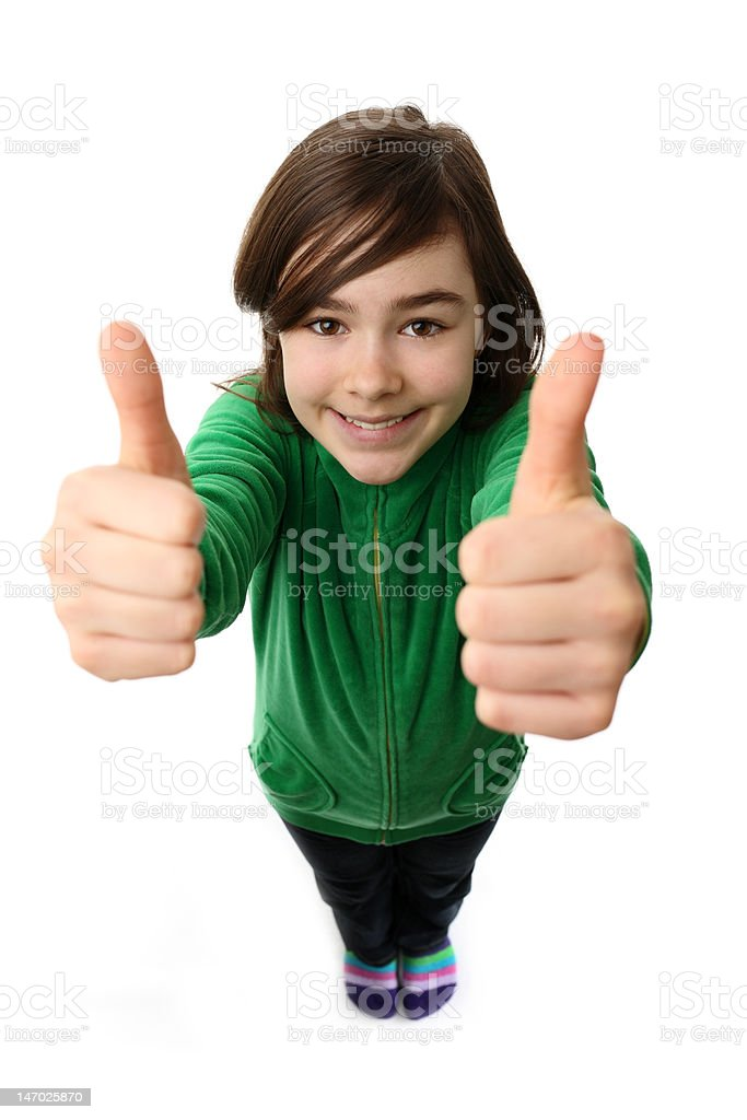 Girl showing OK sign isolated on white royalty-free stock photo