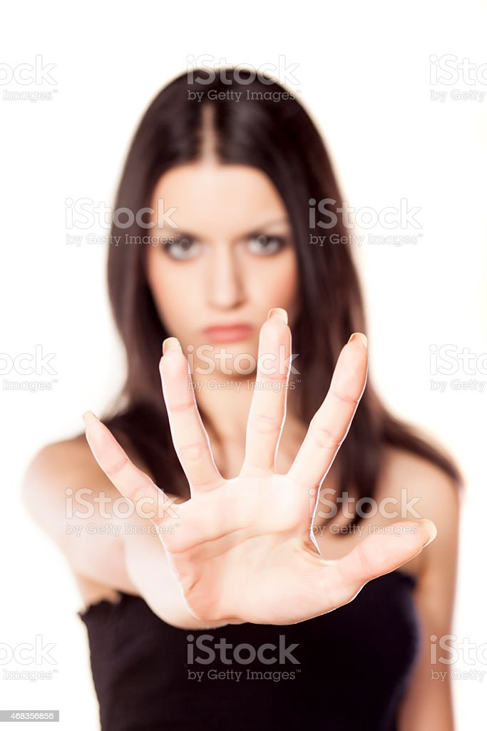 girl showing stop sign royalty-free stock photo