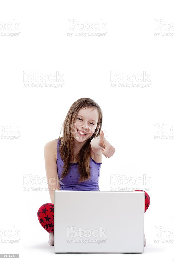 girl showing thumbs up royalty-free stock photo