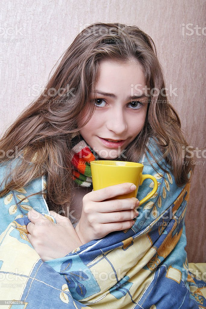 girl sick in bed royalty-free stock photo