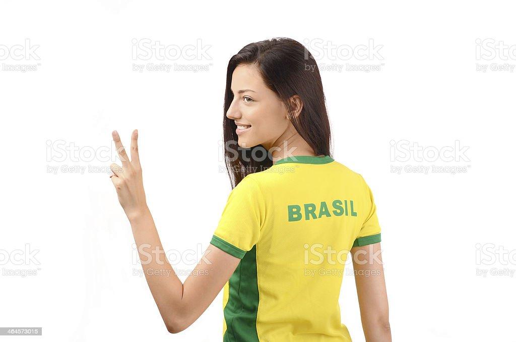 Garota assinatura vitória para o Brasil. - foto de acervo