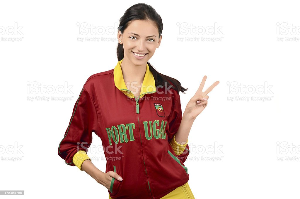 Girl signing victory for Portugal. royalty-free stock photo