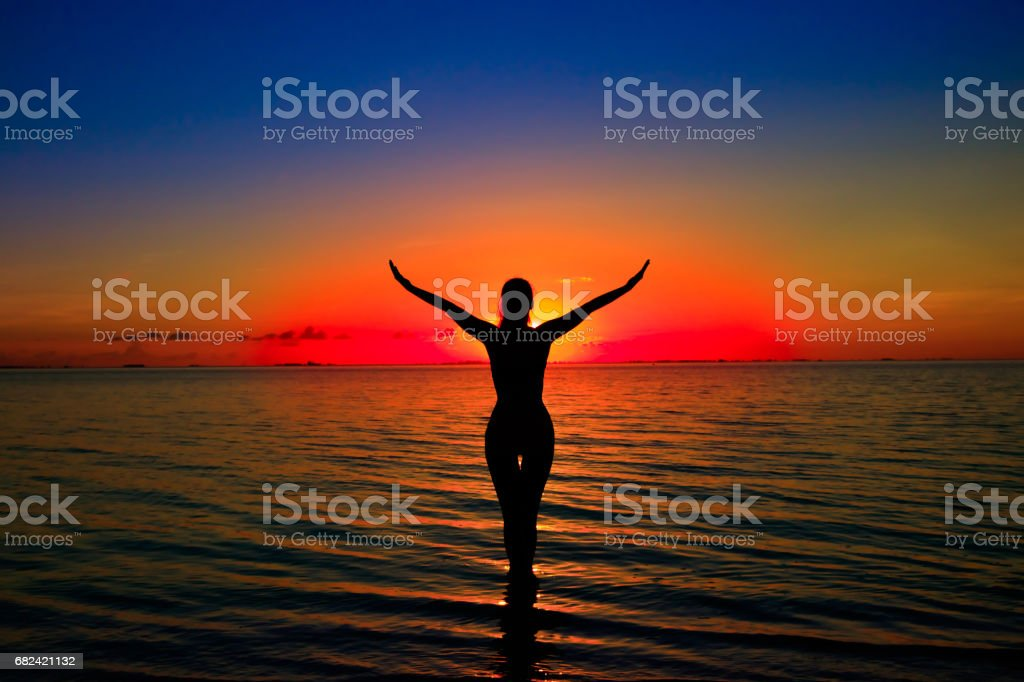 Girl silhouette on water royalty-free stock photo