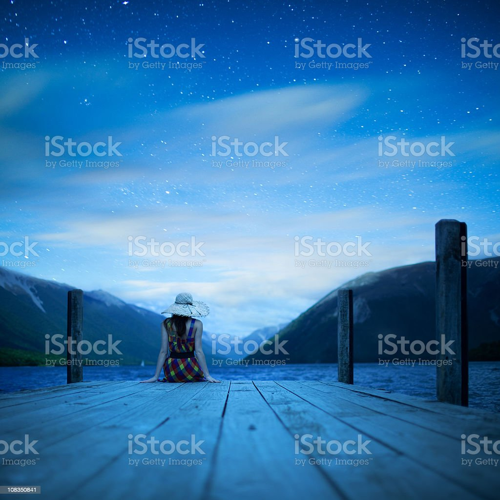 Girl sitting alone royalty-free stock photo