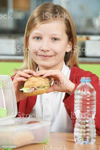 Girl sitting at table in school cafeteria eating healthy packed picture id473210948?b=1&k=6&m=473210948&s=612x612&h=zp6jj4k1br8z539rxy3dpfshujuoy8mrk6kljeq6ijo=