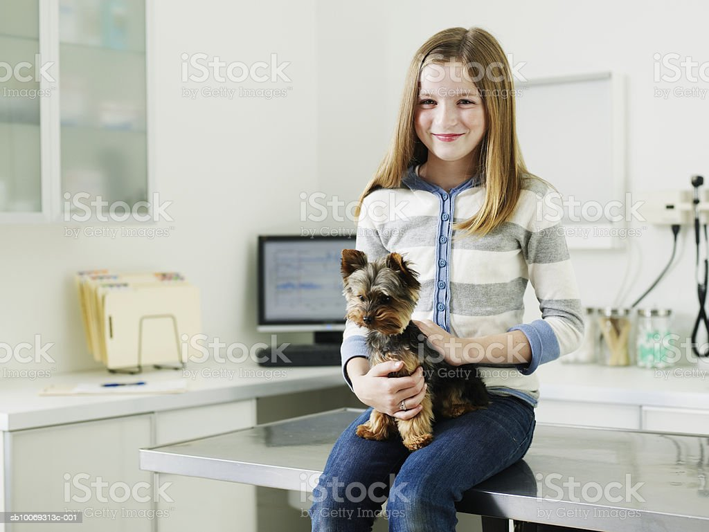 Girl (8-9) sitting on examination table holding Yorkshire terrier puppy in veterinarian exam room royalty-free 스톡 사진