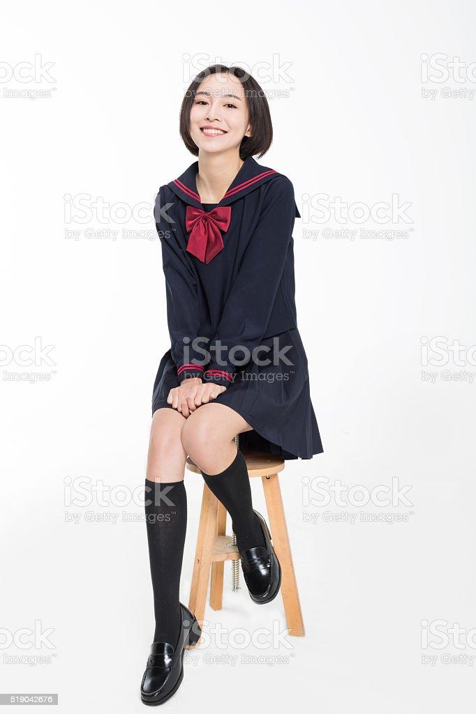 girl sitting on the bench stok fotoğrafı
