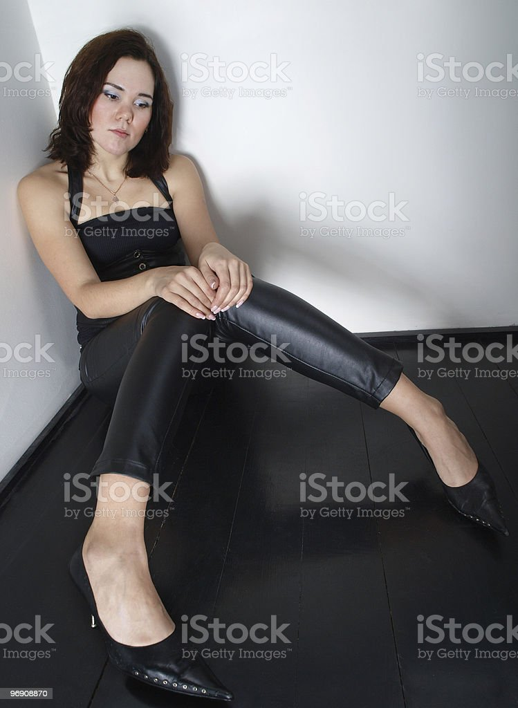 Girl sitting on the floor royalty-free stock photo