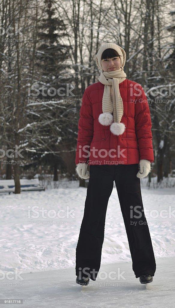Girl skating on ice royalty-free stock photo