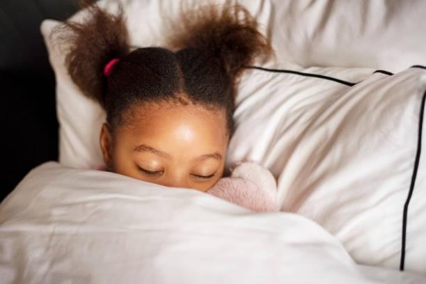 Girl sleeping peacefully stock photo