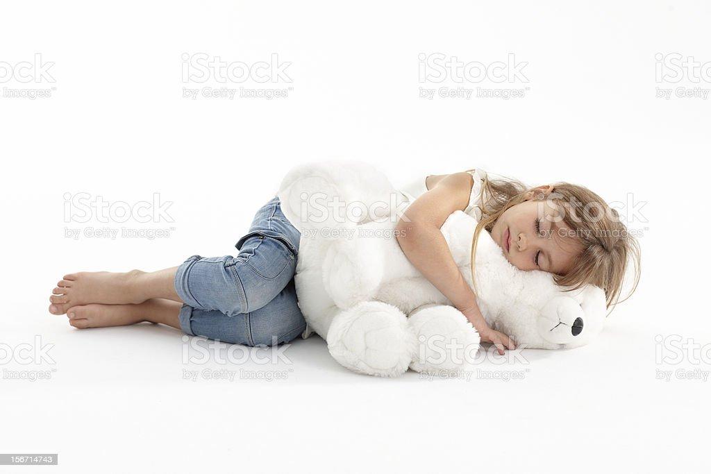 Mädchen mit Teddybär Schlafen big – Foto