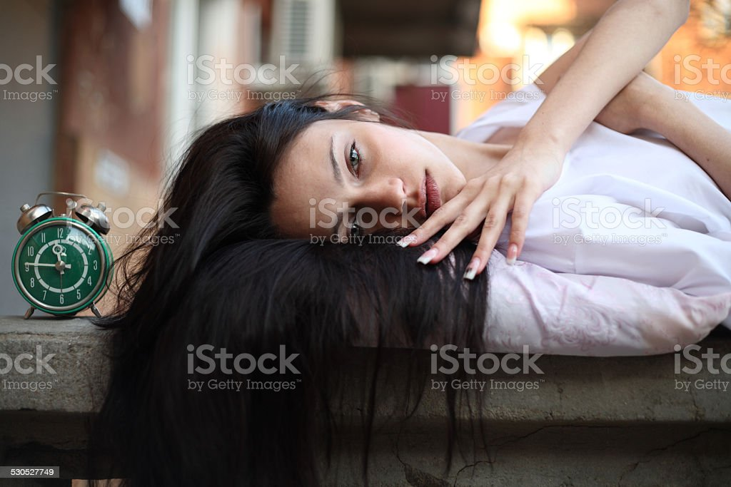 girl sleepyhead stock photo