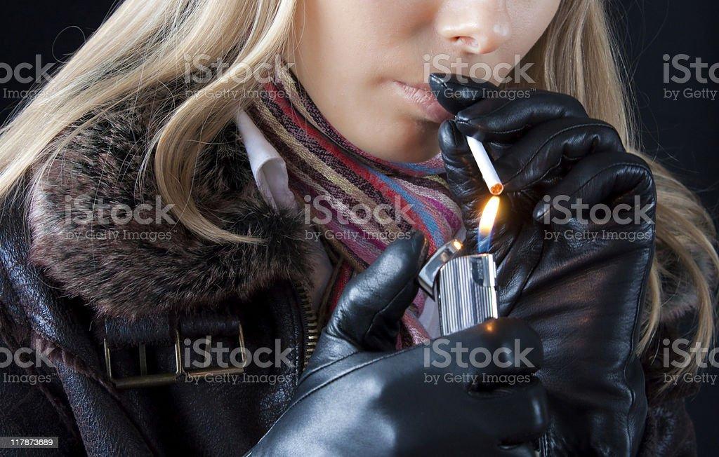 girl smoking royalty-free stock photo