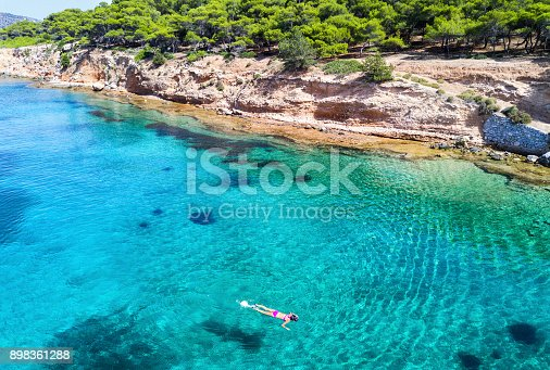 istock Girl snorkeling in the turquoise waters of Moni Island 898361288