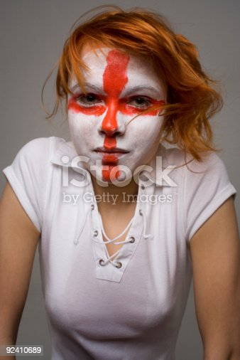 istock Girl soccer fan with English flag makeup 92410689