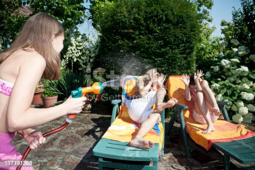 istock Girl sprays water on mum and sister 117191368