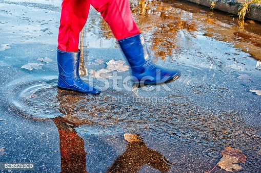1008826222istockphoto girl standing in a puddle of water splashes 628325920