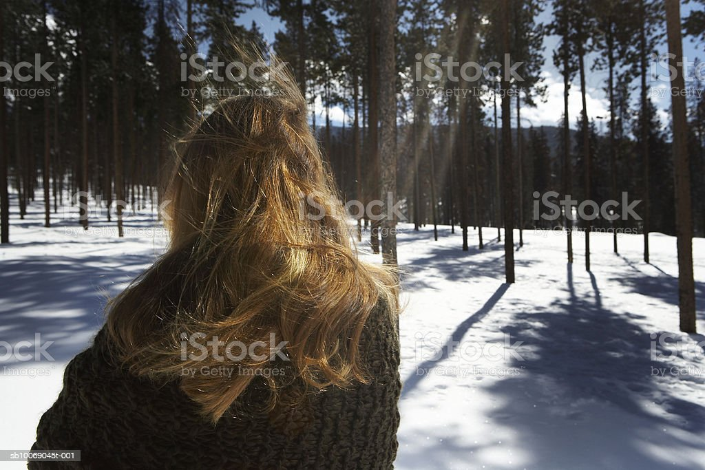 Girl (12-13) standing in snow royalty-free stock photo