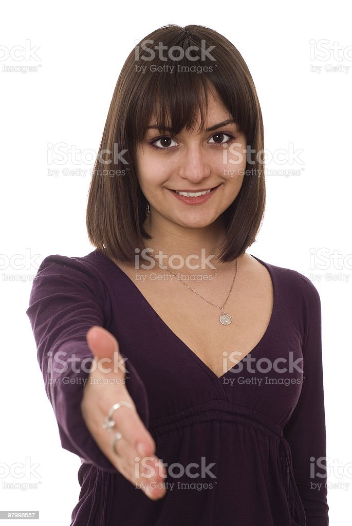 girl standing on a white royalty-free stock photo