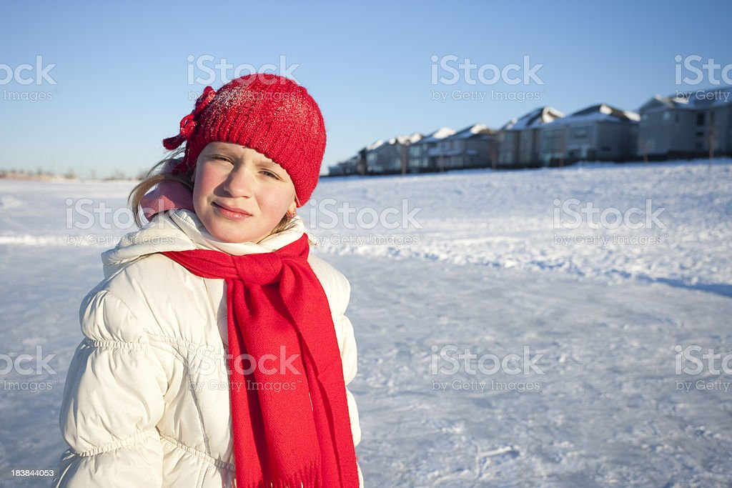 Girl standing on ice royalty-free stock photo