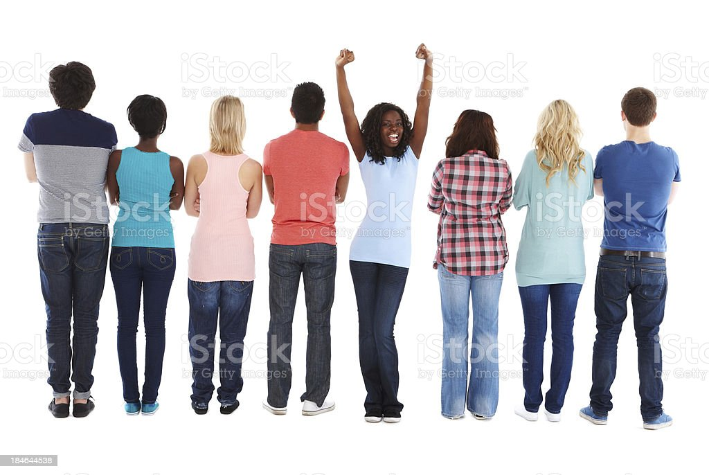 Girl Standing Out From the Crowd - Isolated royalty-free stock photo