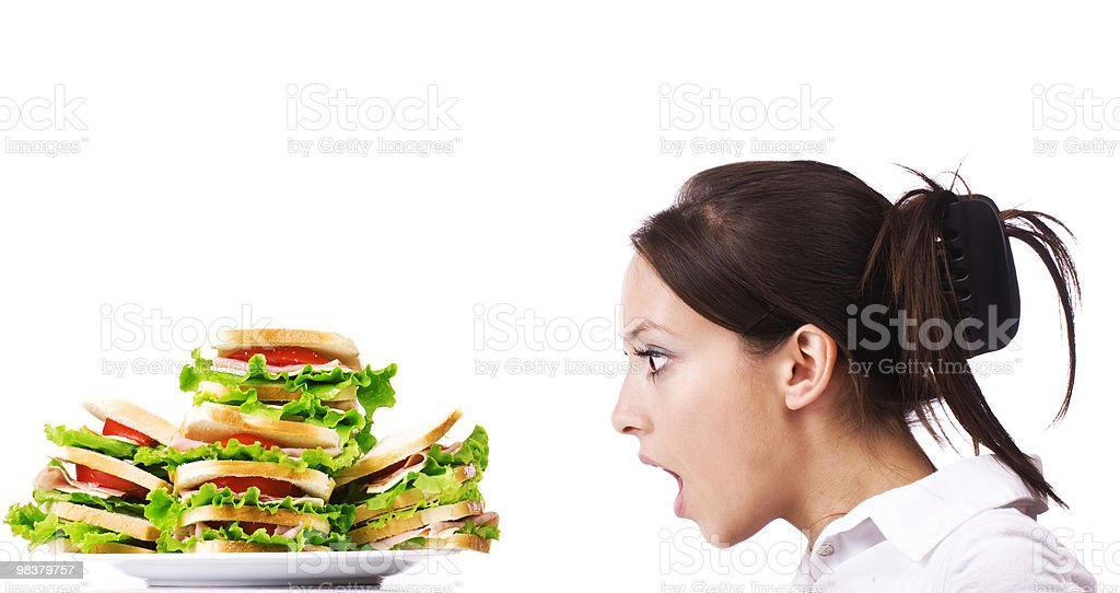 Girl staring in sandwiches royalty-free stock photo