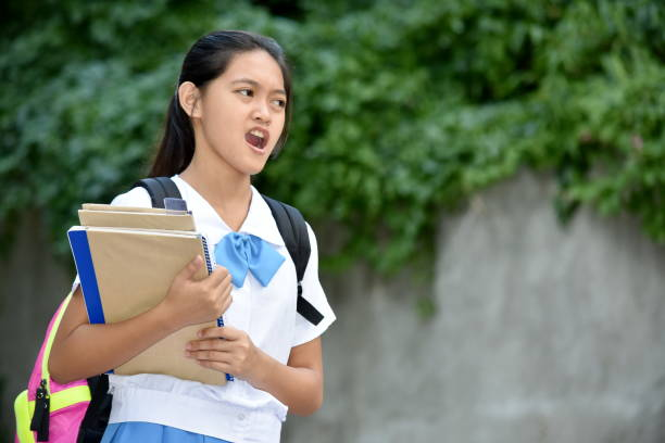 A Girl Student And Anger A person in an outdoor setting antagonize stock pictures, royalty-free photos & images