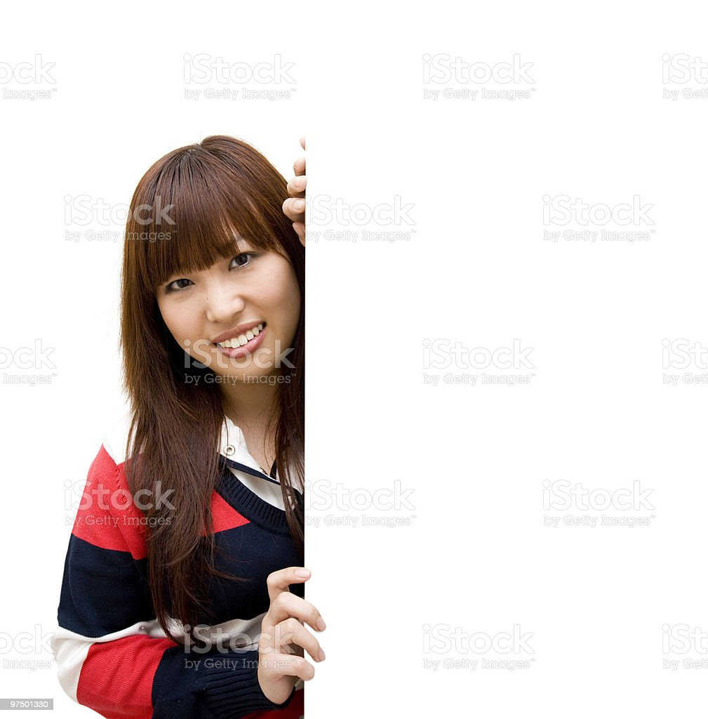 girl student with whiteboard royalty-free stock photo