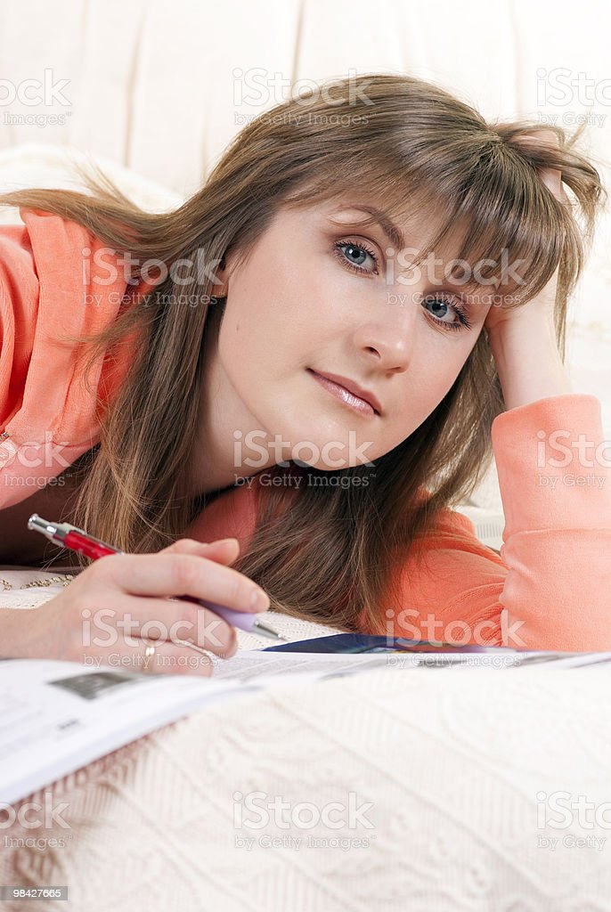 Girl studying at home royalty-free stock photo