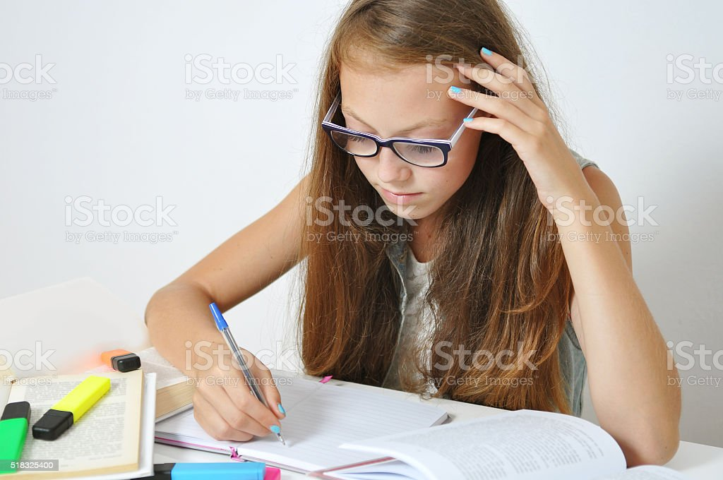 Girl studying stock photo