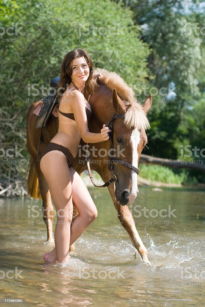 girl swim horse royalty-free stock photo