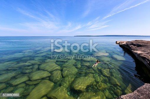 istock Girl Swimming in Lake Superior - Upper Peninsula - Michigan 523880550