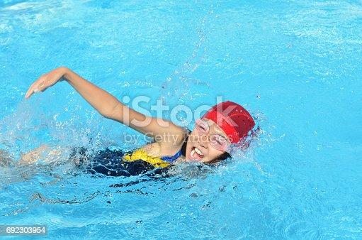 プールで泳ぐ女の子