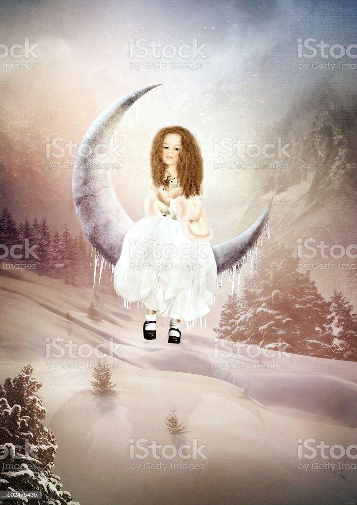Girl swinging on the moon stock photo
