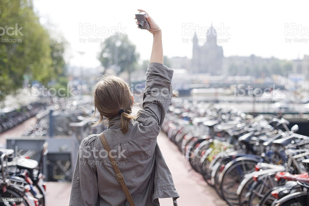 girl taking a picture of herself royalty-free stock photo