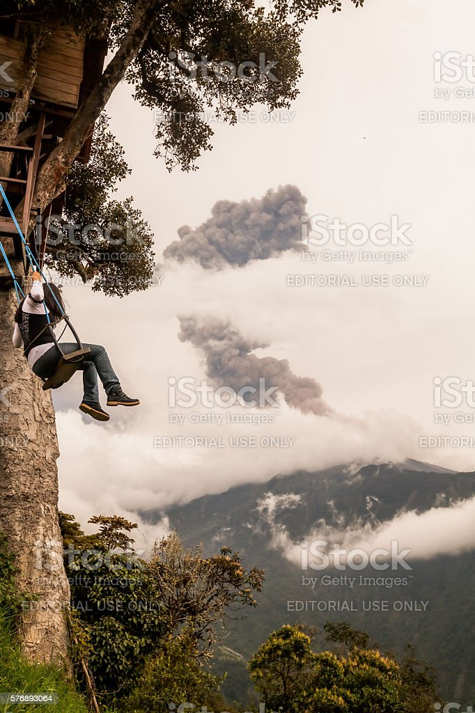 Girl Taking A Ride On The Casa Del Arbol Swing stock photo