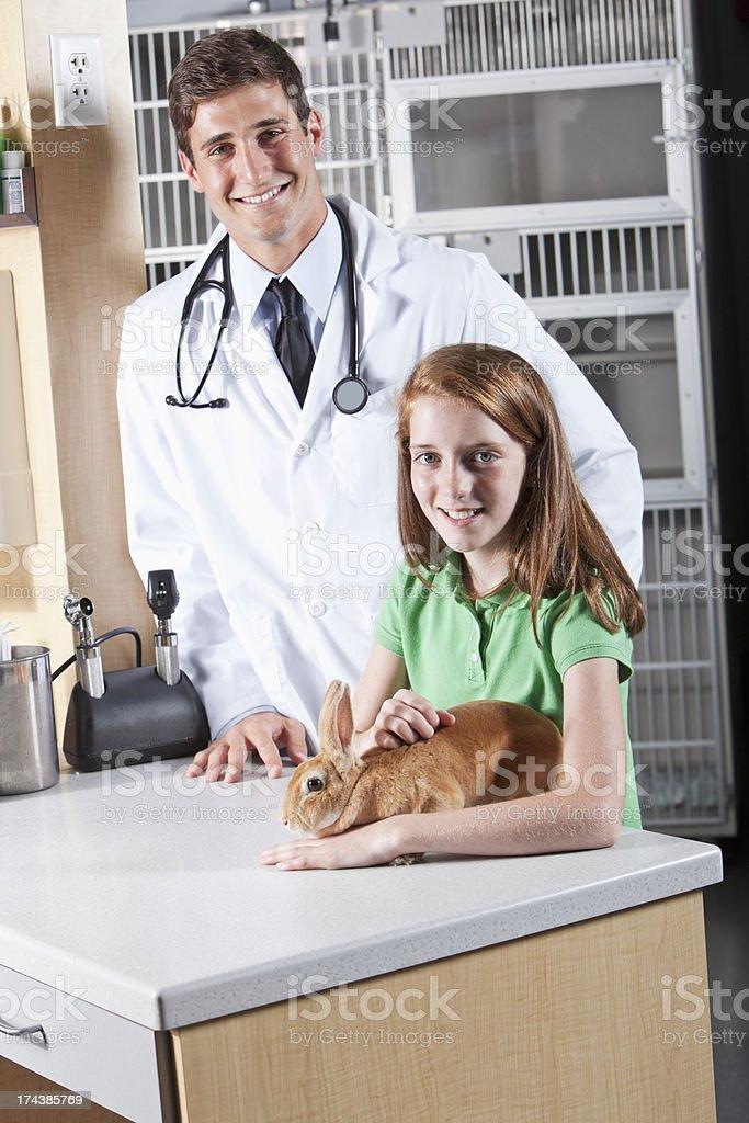 Girl taking pet rabbit to see veterinarian.