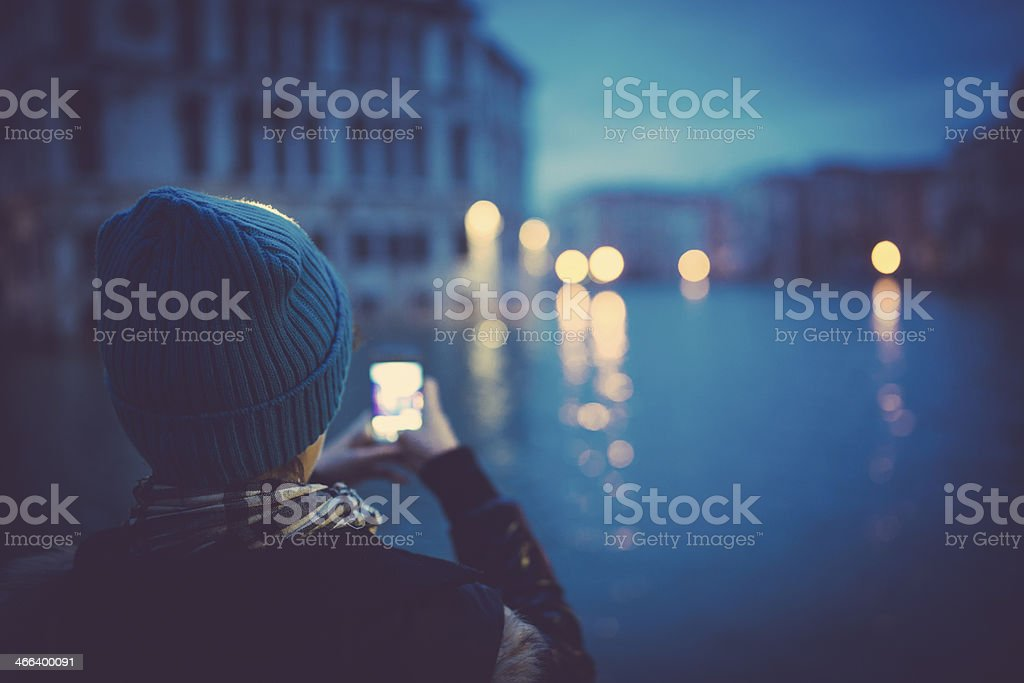 Girl taking photo in Venice royalty-free stock photo