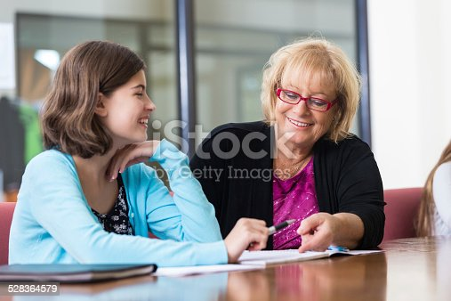 istock Girl taking with tutor while studying for exam after school 528364579