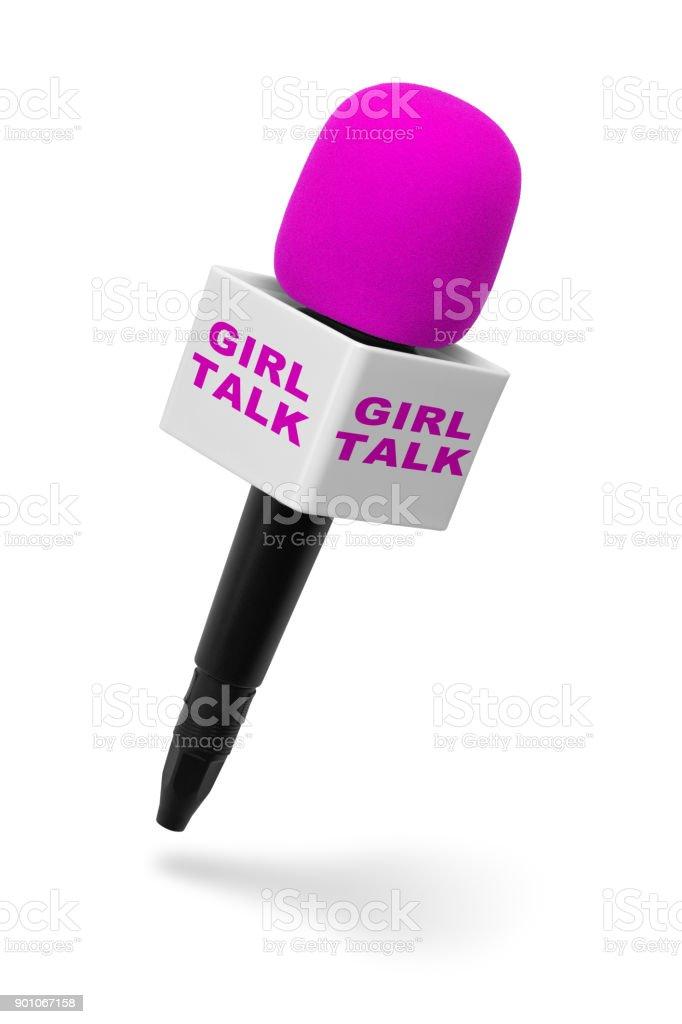 Girl Talk Microphone stock photo