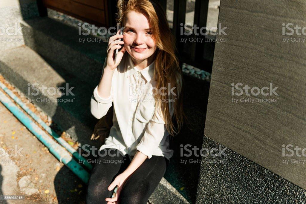 Girl Talking Conversation Phone Concept stock photo
